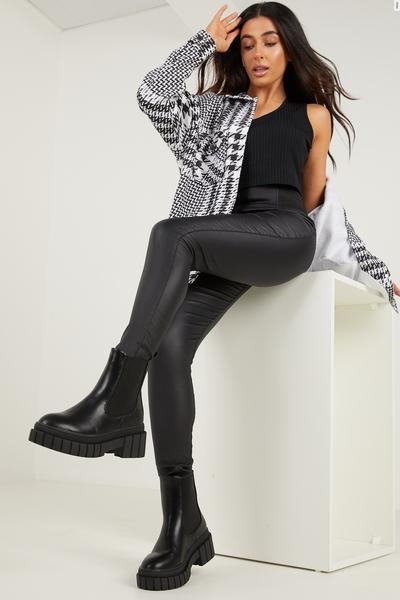 Petite Black Faux Leather Stretch Leggings